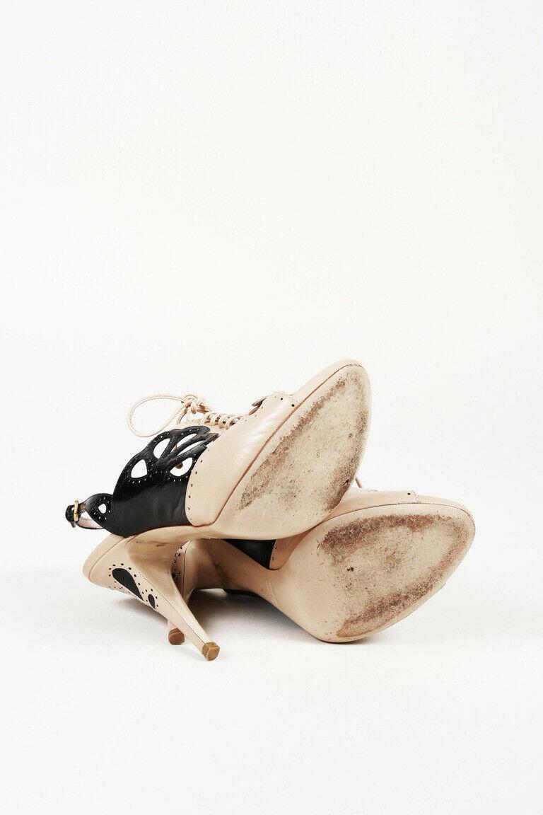 Miu Miu Leather Lace Up Slingback Sandals SZ 40
