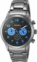 Fossil BQ2124 Watch With 43mm Black Chronograph Face & Gunmetal Grey Bre... - $74.85
