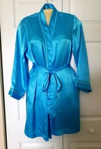 MORGAN TAYLOR Intimates ROBE Size SMALL Side Pockets Blue Satin attached... - ₹360.60 INR