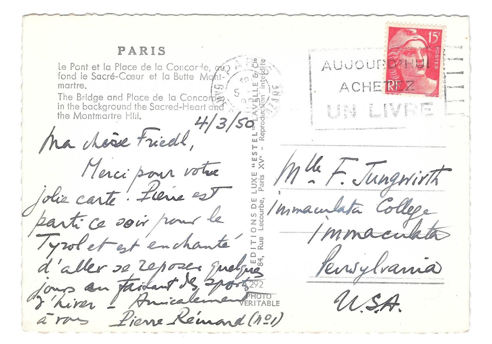 Paris France Pont Bridge Place de le Concorde ESTEL Glossy Photo Postcard 4X6