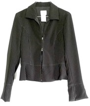 ARMANI COLLEZIONI Zip Jacket Womens Pinstripe Black Short EUC Sz 38 Ital... - $108.90