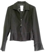 ARMANI COLLEZIONI Zip Jacket Womens Pinstripe Black Short EUC Sz 38 Ital... - $108.90
