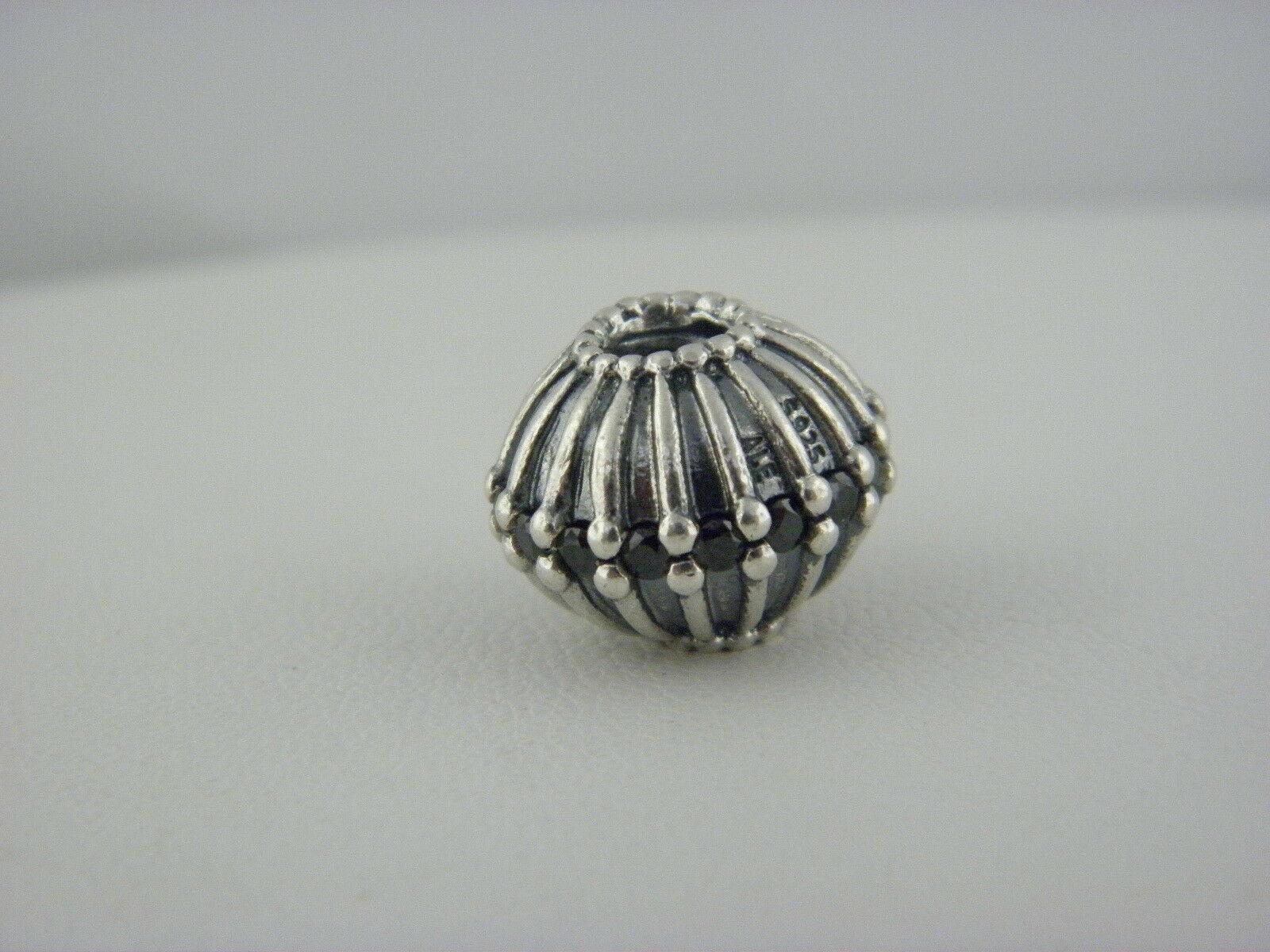 Pandora  ALE Black CZ Flower Charm in Sterling Silver