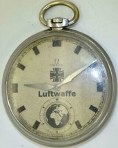 Historic WWII military Omega stainless steel pilot's pocket watch c1936.... - $950.02