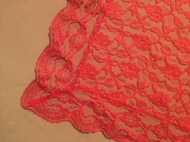 """Vintage 70s Red Polyester """"lace"""" rectangular table cloth/festive overlay image 2"""