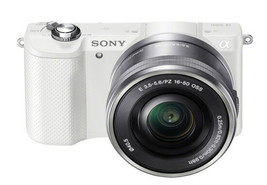 Sony Alpha A5000 White Mirrorless Digital Camera with 16-50mm Lens Kit image 2