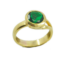 elegant Emerald CZ Gold Plated Green Ring Natural handmade  US gift - $17.99