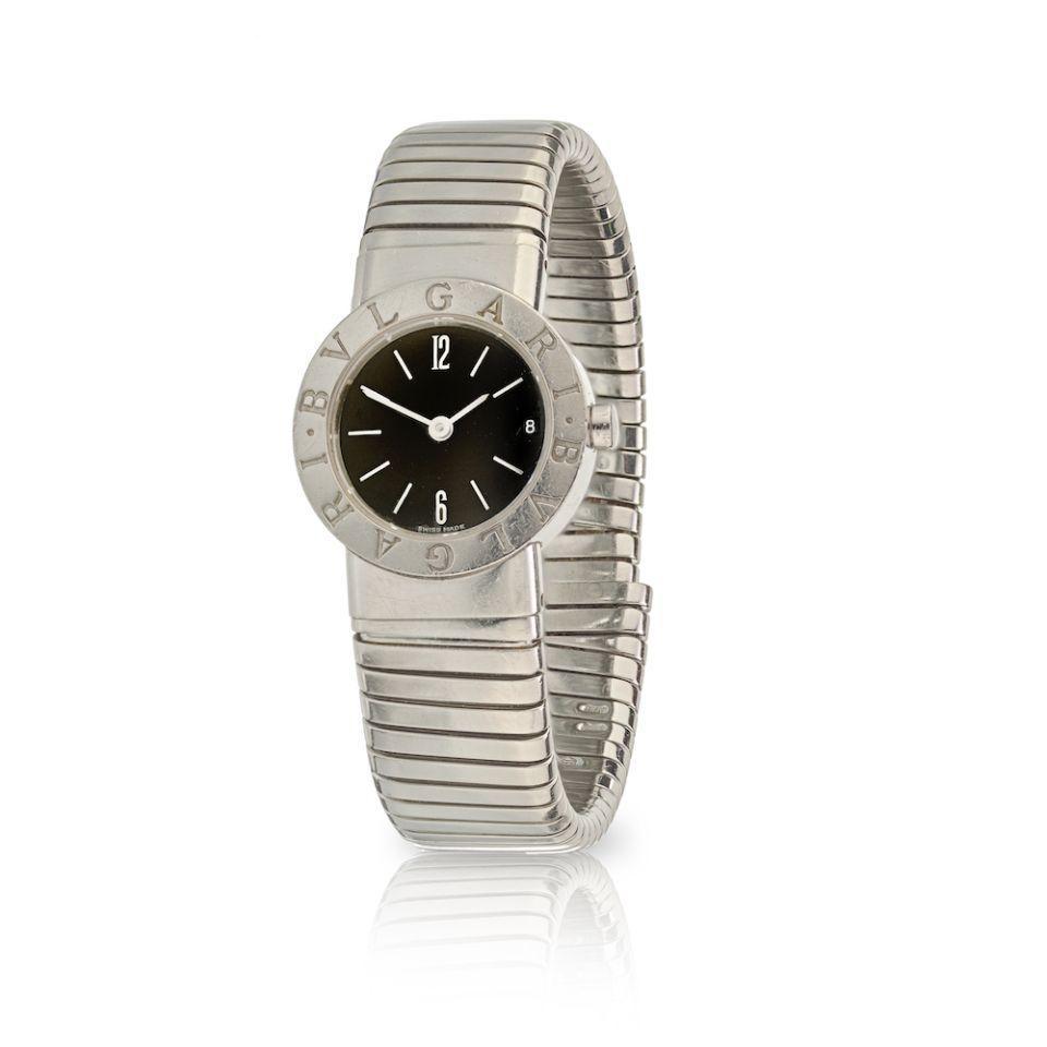 Bvlgari Tubogas Stainless Steel 23mm Round Black Dial Watch - $1,495.00