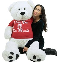 Giant White Valentine's Day Teddy Bear 52 Inch Soft Big Plush, Wears Rem... - $97.11