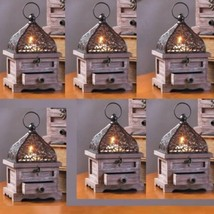 6 Small Lantern Wood Candle Holder Wedding Centerpieces With Drawer - $83.16