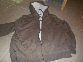 Boys FADED GLORY Brown Zip Front Hoodie white fleece lining. XL16-18 - $6.34