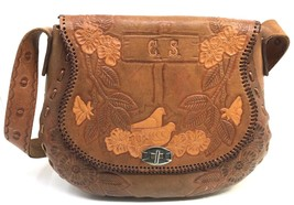 Vtg Country Western Leather Handbag Purse Cowgirl Hand Tooled Horses Mon... - $53.99