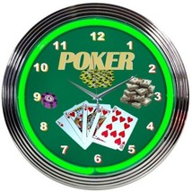 "Poker Green Play Room Neon Clock 15""x15"" - $59.00"
