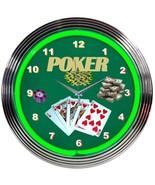 "Poker Green Play Room Neon Clock 15""x15"" - $59.00"
