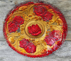 Indiana Glass 1920s Plate, Roses in the Snow Goofus Glass  - $29.00