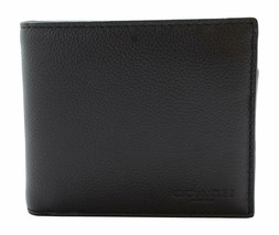 NEW! Authentic! Black COACH Compact ID Sport Calf Bifold/Wallet  F74991 - $158.28