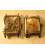 Lot of 2 square 6 and 17 jewel Best and Nova square watches for repair p... - $125.00