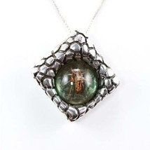 Amber and Silver Spider Pendant - $350.63