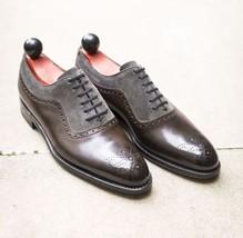 Handmade Men's Brown Grey Heart Medallion Leather & Suede Dress/Formal Shoes image 1