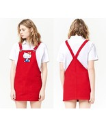 Hello Kitty red denim overall dress pinafore jumper women's size SMALL s... - $79.98