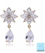 Crystal Floral Earrings For Wedding - Women's Gold Flower Cluster Teardr... - $35.41