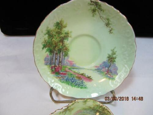 Aynsley Tea Cup & Saucer Set Lime Green with Scenery embossed design detail image 3