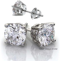 Round Earrings Studs Solid 14K White Gold Brilliant Cut Screwback Backet... - $147.25