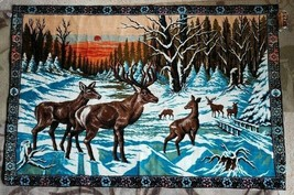 "LARGE Vintage Tapestry Rug Deer Families Winter Wildlife Mountains 68"" x... - $69.29"
