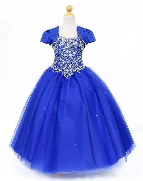 Girls Pageant Wedding Flower Girl Prom Ruffled Dress w// bolero 3 4 5 6 7 8 10 12