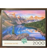 ***RARE*** 2000 Pc Buffalo Puzzle - Mountains On Fire - Complete & Exce... - $17.33