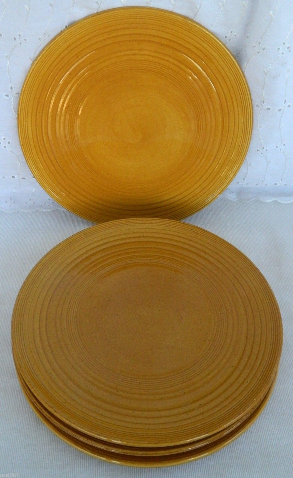 4 Tabletops Unlimited SWIRL Hand Painted PORTOFINO Yellow Mustard Dinner Plates & 4 Tabletops Unlimited SWIRL Hand Painted and 15 similar items