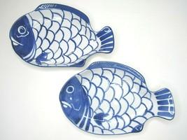 """2 Dansk Arabesque Blue White Ceramic 11 1/2"""" Fish Shaped Serving Platter... - $68.97"""