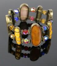 Vintage Rhinestone Beaded Oval Multi Colorful Stone Stretch Costume Brac... - $16.76