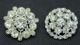 Lot 2 Vintage Clear Crystal Rhinestone Brooch Pins Silver Tone Metal Sca... - $19.79