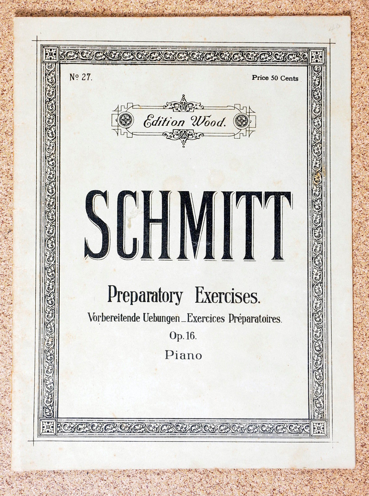 Primary image for Schmitt Preparatory Excercises Sheet Music Book For Piano No.27 by Aloys Schmitt