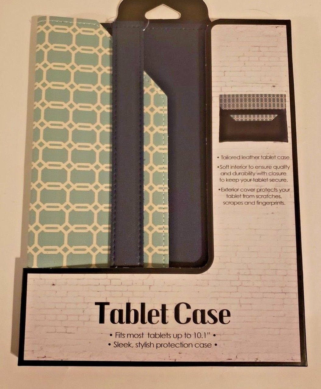 """Tailored Leather Tablet Case Fits Up To 10.1"""" (Teal and Dark Blue)"""