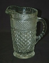 Old Vintage Wexford by Anchor Hocking Diamond Point Criss-Cross Pitcher ... - $39.59