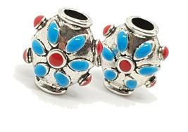 Two Enamel Hair Beads enamel and Pewter Moroccan Indian Bali 17 x 14 x 1... - $17.79