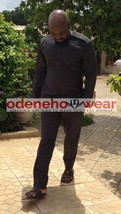 Odeneho Wear Men's Black Polished Cotton Top And Bottom. African Clothing. - $128.69+