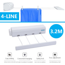 Clothes Line 4 Rope Dryer 3.2m Clothesline Retractable ABS Auto Roll Up ... - $21.93