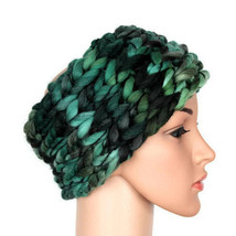 Knitted crochet headband Turban headband wide Ski ear warmer Women Green... - $18.00