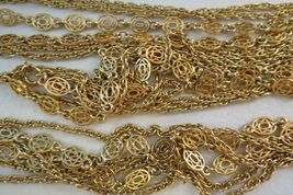 """Monet Necklace Multi Chain Long 51"""" Designer Gold Plated Oval Links NICE Cond image 4"""