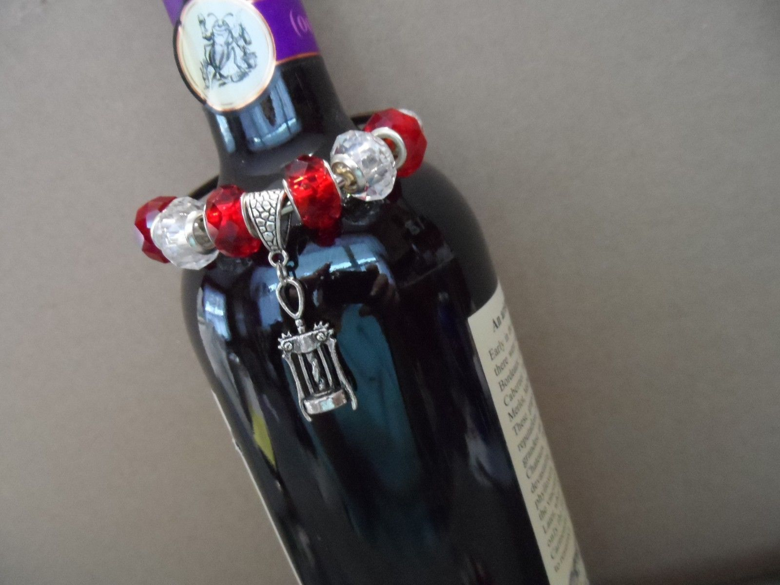 Metal wine bottle decorative necklace with murano glass beads - choice lot 2