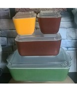 Vintage PYREX ~ Set of Four (4) Refrigerator Dishes w/Lids ~ Fall Colors - $198.00