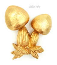 Napier Vintage Brooch 1970s Mushroom Retro Pin and Published Book Piece - $35.00