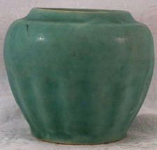 Antique Green Pottery Flower Pot or Planter Fine ribs Only Mark 6097/19 - $25.99
