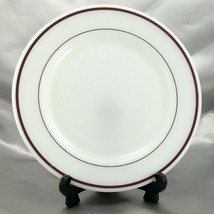 "Pyrex Tableware 712 Dinner Plate Milk Glass Maroon Stripe 9¼"" ~ Made in ... - $9.95"