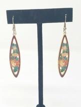 Vintage cloisonne pierced earring dangle floral - $23.76