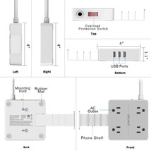 Power Strip 4 Outlets & 3 USB Ports & Removable Phone Holder Charger Station image 2