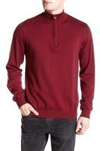 NEW $88 REPORT COLLECTION BURGUNDY SLIM FIT 1/2 ZIP MOCK NECK SWEATER SI... - $14.84